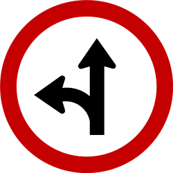 Traffic sign of Brazil: Driving straight ahead or turning left mandatory