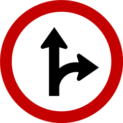 Traffic sign of Brazil: Driving straight ahead or turning right mandatory