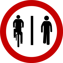 Traffic sign of Brazil: Mandatory divided path for pedestrians and cyclists