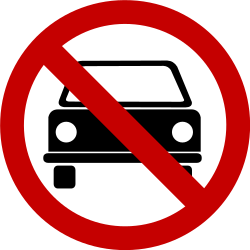 Traffic sign of Brazil: Cars prohibited