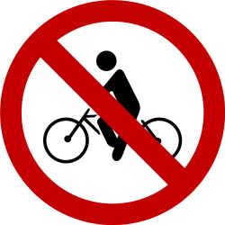 Traffic sign of Brazil: Cyclists prohibited