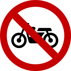 Traffic sign of Brazil: Motorcycles prohibited