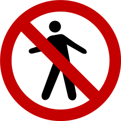Traffic sign of Brazil: Pedestrians prohibited