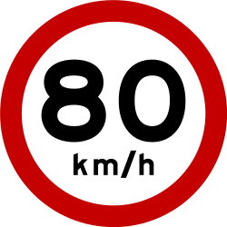 Traffic sign of Brazil: Driving faster than indicated prohibited (speed limit)