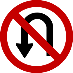 Traffic sign of Brazil: <b>Turning</b> around prohibited (<a href='/en/brazil/overview/u-turn'>U-turn</a>)