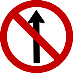 Traffic sign of Brazil: Driving straight ahead prohibited
