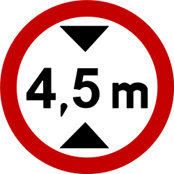 Traffic sign of Brazil: Vehicles higher than indicated prohibited