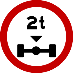 Traffic sign of Brazil: Vehicles with an axle weight heavier than indicated prohibited