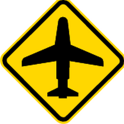 Traffic sign of Brazil: Warning for low-flying aircrafts