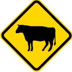 Traffic sign of Brazil: Warning for cattle on the road