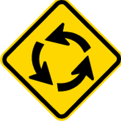 Traffic sign of Brazil: Warning for a roundabout