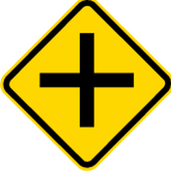 Traffic sign of Brazil: Warning for an uncontrolled crossroad
