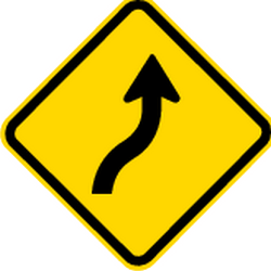 Traffic sign of Brazil: Warning for a double curve, first right then left