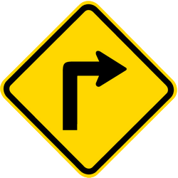 Traffic sign of Brazil: Warning for a <b>sharp curve</b> to the right
