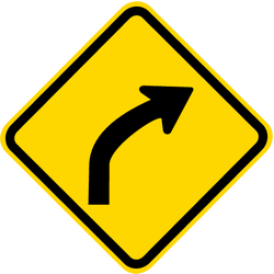 Traffic sign of Brazil: Warning for a curve to the right