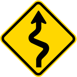 Traffic sign of Brazil: Warning for curves