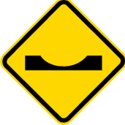 Traffic sign of Brazil: Warning for a dip in the road