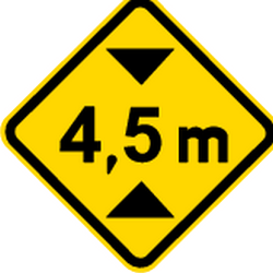 Traffic sign of Brazil: Warning for a limited height