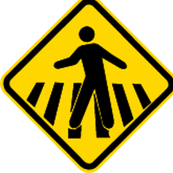 Traffic sign of Brazil: Warning for a crossing for pedestrians