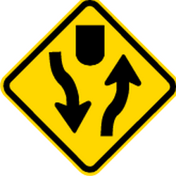 Traffic sign of Brazil: Warning for a <b>divided road</b>