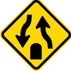 Traffic sign of Brazil: Warning for the end of a <b>divided road</b>