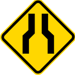 Traffic sign of Brazil: Warning for a road narrowing