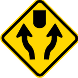 Traffic sign of Brazil: Warning for an obstacle, <b>pass</b> either side