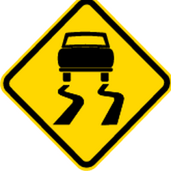 Traffic sign of Brazil: Warning for a slippery road surface