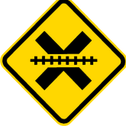 Traffic sign of Brazil: Warning for a railroad crossing without barriers
