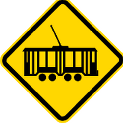 Traffic sign of Brazil: Warning for <a href='/en/brazil/overview/tram'>trams</a>