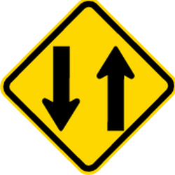 Traffic sign of Brazil: Warning for a road with two-way traffic