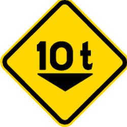 Traffic sign of Brazil: Warning for a limited weight