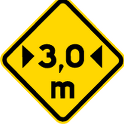 Traffic sign of Brazil: Warning for a limited width