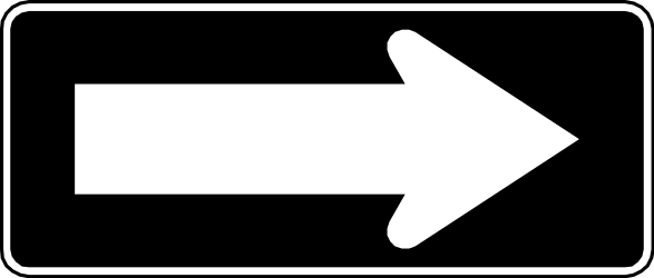 Traffic sign of Chile: Road with one-way traffic