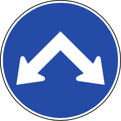 Traffic sign of Chile: Passing left or right mandatory