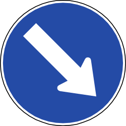 Traffic sign of Chile: Passing right mandatory
