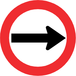 Traffic sign of Chile: Mandatory right