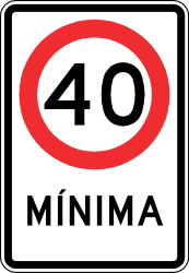 Traffic sign of Chile: Driving faster than indicated mandatory (minimum speed)