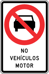 Traffic sign of Chile: Cars prohibited