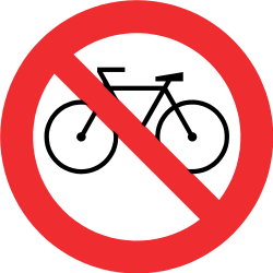 Traffic sign of Chile: Cyclists prohibited