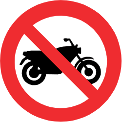 Traffic sign of Chile: Motorcycles prohibited