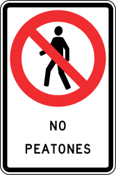Traffic sign of Chile: Pedestrians prohibited