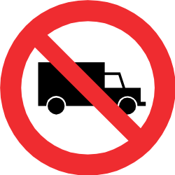Traffic sign of Chile: Trucks prohibited