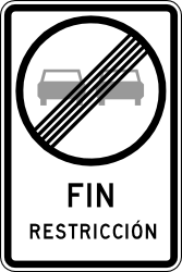 Traffic sign of Chile: End of the overtaking prohibition