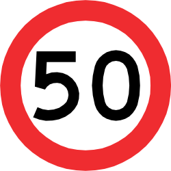 Traffic sign of Chile: Driving faster than indicated prohibited (speed limit)