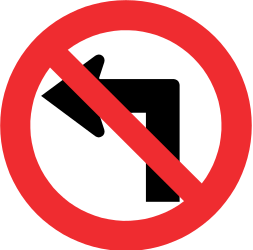 Traffic sign of Chile: Turning left prohibited