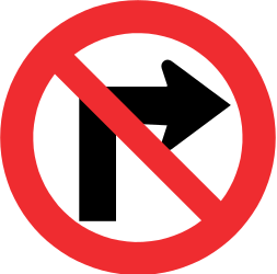 Traffic sign of Chile: Turning right prohibited
