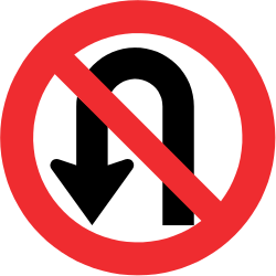 Traffic sign of Chile: Turning around prohibited (U-turn)