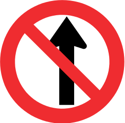 Traffic sign of Chile: Driving straight ahead prohibited