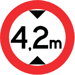 Traffic sign of Chile: Vehicles higher than indicated prohibited